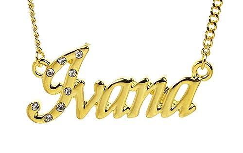 dd83b6ff37127 Amazon.com: Zacria Name Necklace Ivana - 18K Yellow Gold Plated: Jewelry