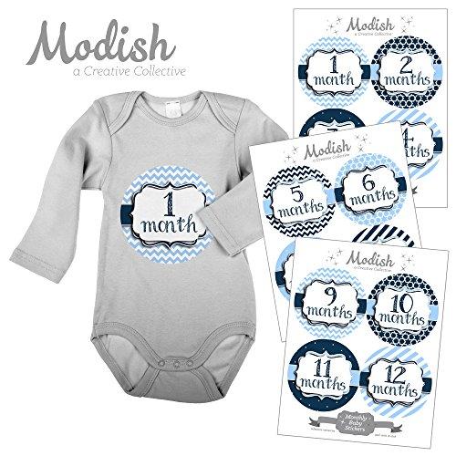 12 Monthly Baby Stickers, Baby Boy, New Baby Gift, Baby Shower Gift, Baby Book Keepsake, Baby Blue, Navy Blue, Nursery Decor