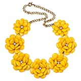 Women Yellow Vintage Flower Choker Chunky Bib Statement Necklace Pendant for Lady