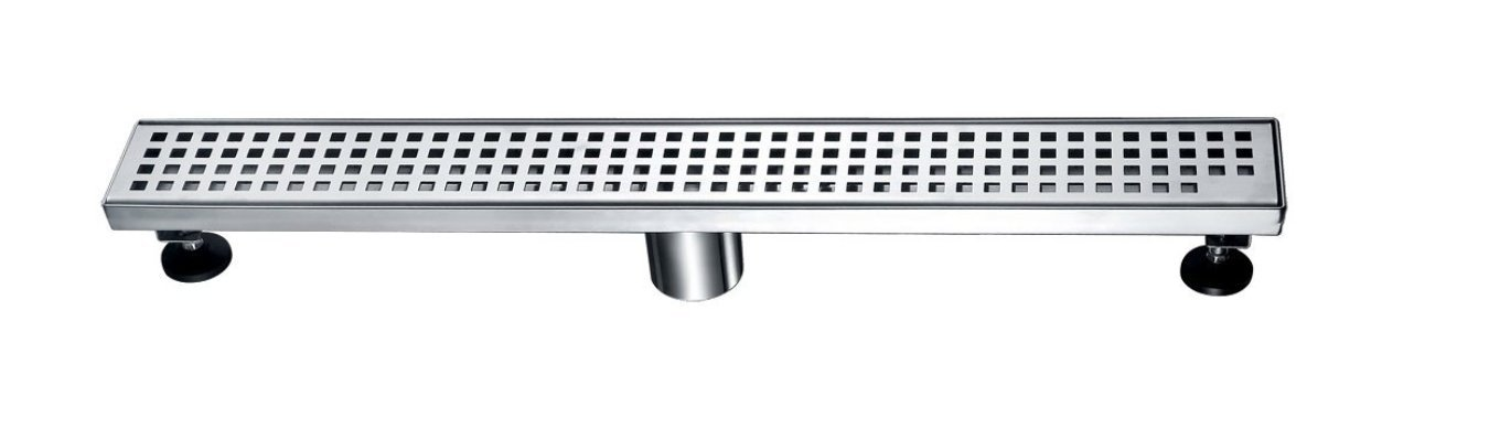 Brushed Nickel 36'' Cascade Linear Shower Drain with Square Drain holes. Complete with Drain Assembly. UPC approved