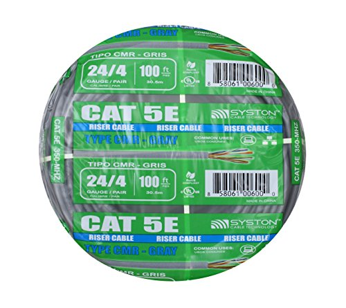 Cat5e Bulk Cable 100ft Pure Copper, Outdoor / Indoor Heat Resistant, Solid 350Mhz, 24AWG, UTP, Riser Rated CMR, Gray by Syston - Riser Cable Rated