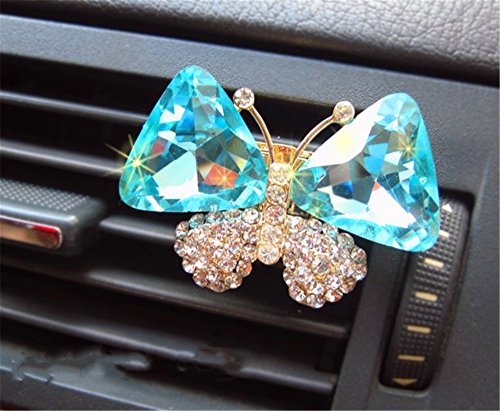 2 crystal butterfly car outlet perfume air freshener home crafts gift decoration (Light blue)