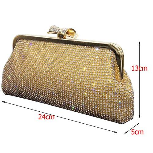 Nai Li Ladies Diamonds Evening Bag Paquetes Suaves Novias Bolsos Banquet Trim Embragues Yellow