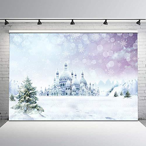 Mehofoto Winter Snow Backdrop White Snowflake Princess Castle Vinyl Background for Children Kids 7x5 Winter Scenery Photography Backdrops for Photographers -