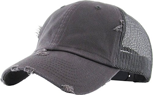 (H-6140-K70 Distressed Low Profile Vintage Polo Style Trucker Dad Hat - Dark Grey)