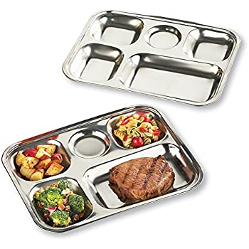5 Portion Stainless Steel Meal Tray Great for Children Snacks Crafts and Other Special Needs