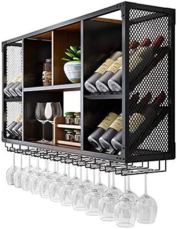 WLABCD Bar Barra de Vino Restaurante Botella de Vino Montada en la Pared, Soportes de Copa de Vino Simple Para, Colgantes Bastidores de Tallo (Negro), Estantería de Decoración Montada en Pared,150X60
