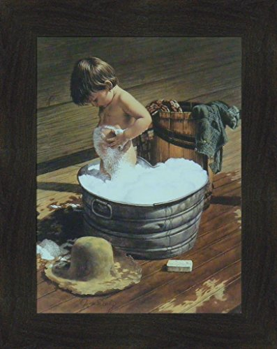 Home Cabin Décor Saturday Night by Jim Daly 16x20 Child Kid Boy Metal Heart Bath Tub Americana Bathroom Framed Art Print Picture