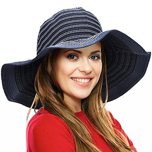 Women Floppy Sun Beach Hats w/Wide Brim Straw Edge Summer UV Protection Foldable Gardening Hiking Cap - Edge Sun Hat