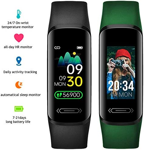 2021 Version Fitness Activity Tracker Watch for Teens Women Men, Body Temperature Heart Rate Sleep Health Monitor Pedometer Steps Calories Counter Smart Watch IP68 Waterproof (Black) 2