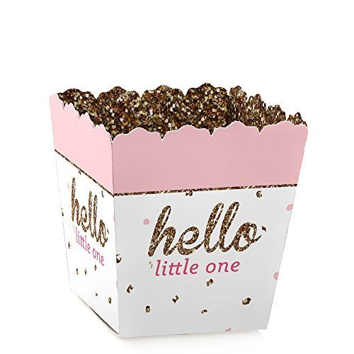 Hello Little One - Pink and Gold - Party Mini Favor Boxes - Girl Baby Shower Treat Candy Boxes - Set of 12]()