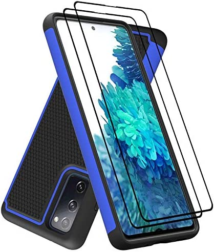 Dahkoiz Case for Galaxy S20 FE Case with Tempered Glass Screen Protector[2 Pack],Durable Sturdy Armor Defender Cover Dual Layer Protective Phone Cases for Samsung Galaxy S20 FE 5G/Fan Edition, Blue