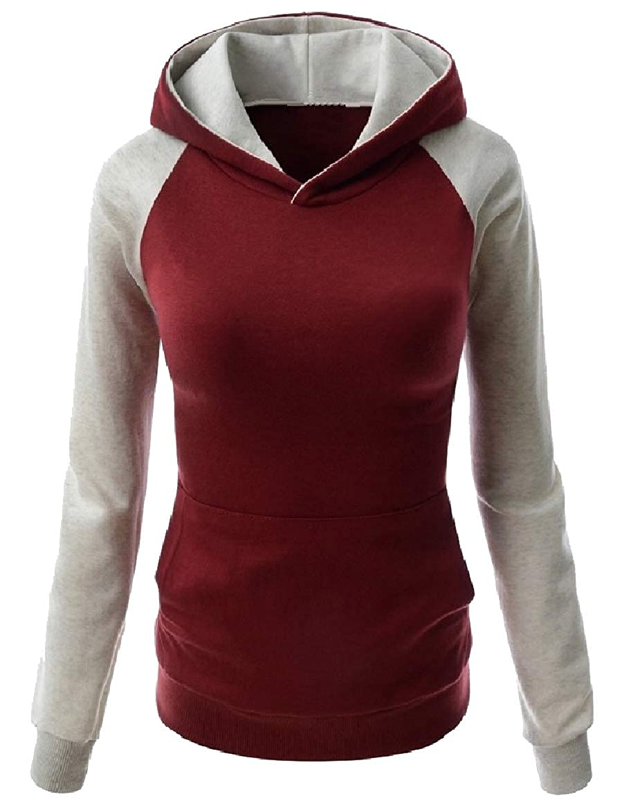 YUNY Womens Fashion Slim Fit Workout Raglan Hit Color Hooded Pullover 3 M