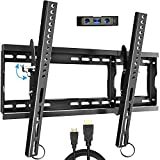 Everstone Adjustable Tilt TV Wall Mount Bracket for Most 32-80 Inch LED,LCD,OLED,Plasma Flat Screen,Curved TVs,Low Profile,Up To VESA 600x400 and 165 LBS,Includes HDMI Cable and Level,Fits 16',18',24'