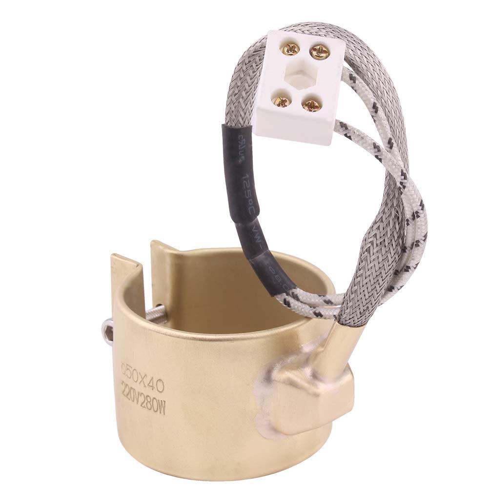 AIICIOO 220v 280w Heizung f/ür Extruder Kupfer Band Heater f/ür Spritzgie/ßmaschine Ceramic Steckverbinder 50x40mm