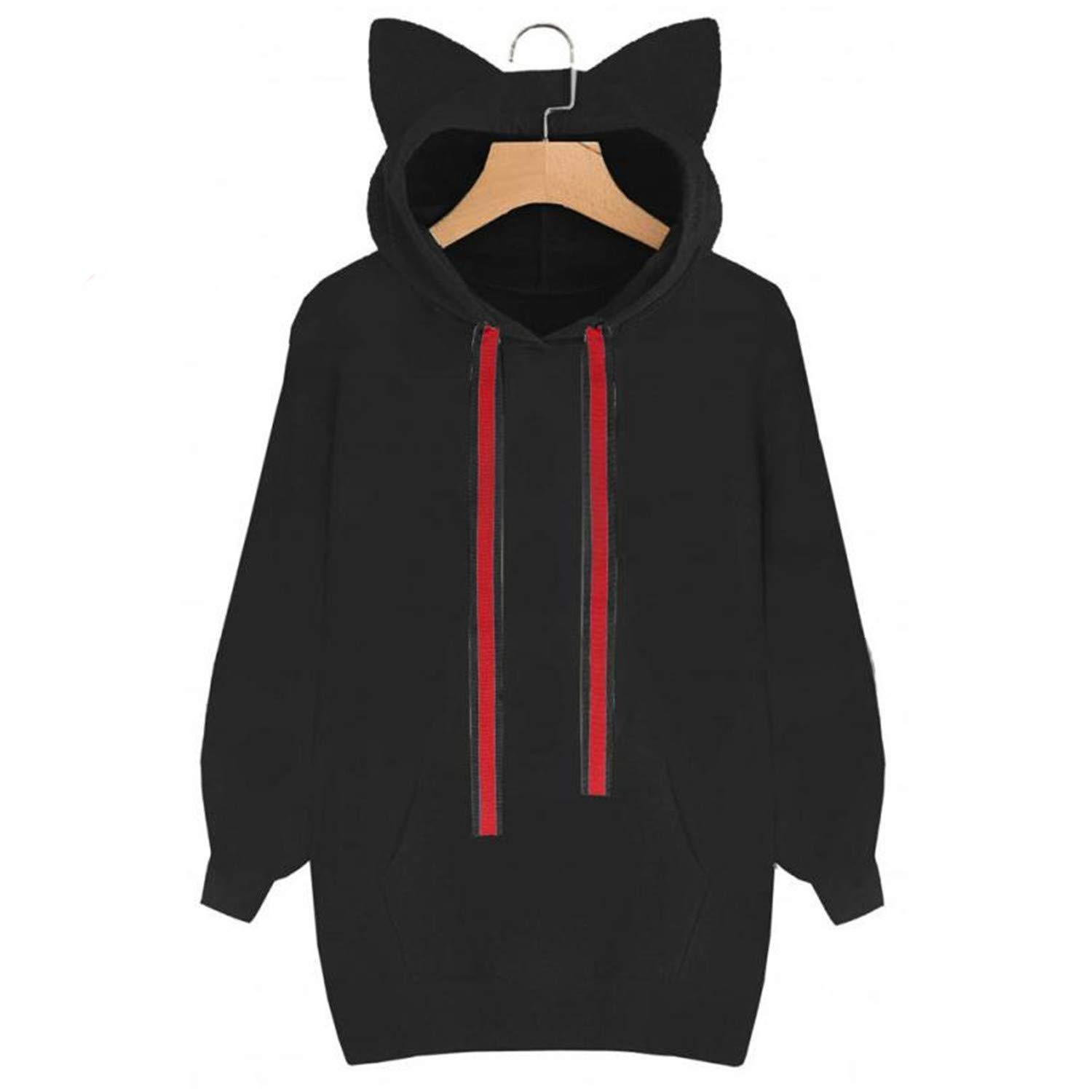 Womens Long Sweatshirts Cat Long Sleeve Hoodie Sweatshirt Hooded Pullover Tops