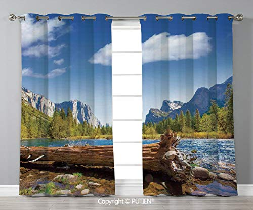 Grommet Blackout Window Curtains Drapes [ Yosemite,Yosemite Merced River El Capitan Half Dome in California National Park Waterscape,Green Blue ] for Living Room Bedroom Dorm Room Classroom Kitchen Ca