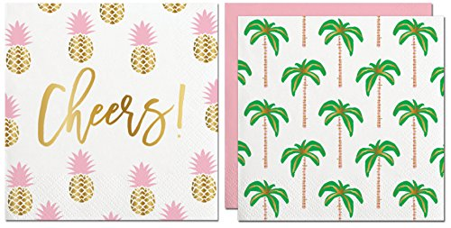 Cheers Pineapple Printed Napkins & Palm Trees Printed Napkins ( Gold Foil Print, 2 Packs of 20)