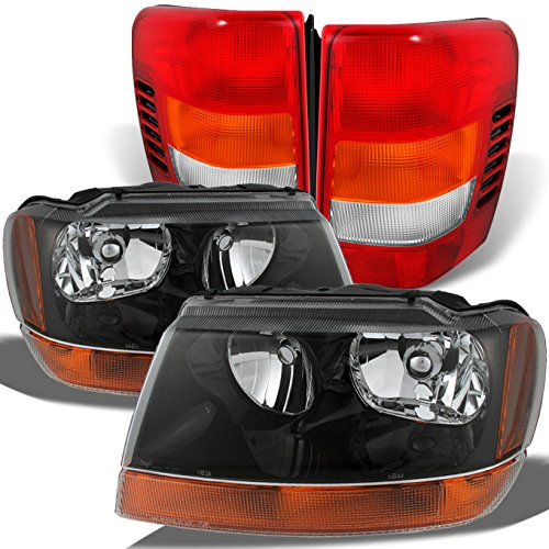 For Jeep Grand Cherokee Black Amber Headlights + Red Clear Tail Lights Left & Right Replacement Pair Set