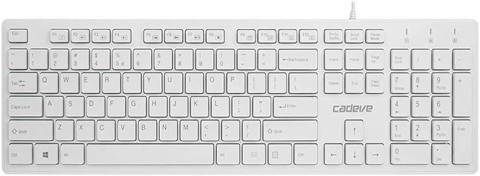 Color : White Linux Guanwen Gaming Keyboard,Wired USB Waterproof Mute Ergonomic Multimedia Office Keyboard Support Windows 10//8 // Vista//XP Mac