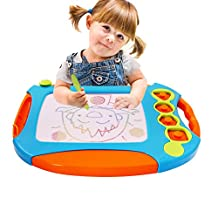 Kids Magnetic Drawing Writing Board - Wishtime Doodle Pro Sketch 4 Colors Zone Craft Art Erasable Toy for Children Toddler Skill Developmet