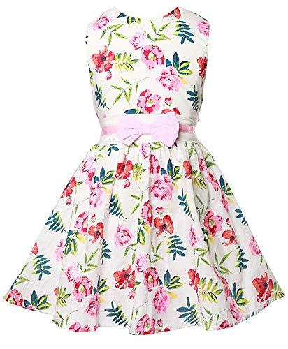 Girl Vintage 2 - Girls Vintage Flower Dress Summer Sleeveless Swing Party Dresses with Belt 2-9 Years Pink