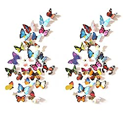 Prefer Green 48 PCS 3D Colorful Butterfly Wall Stickers DIY Art Decor Crafts (H-017 A)