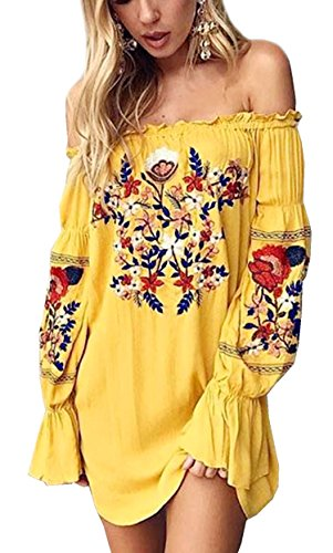 R.Vivimos Womens Floral Embroidered Off Shoulder Long Sleeve Short Dresses (XL, Yellow)