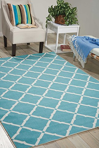 Nourison Home & Garden (RS091) Aqua Rectangle Area Rug, 10-Feet by 13-Feet (10' x 13')