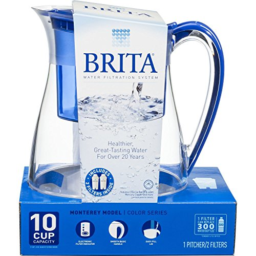 brita-water-filter-pitcher-monterey-model-2-filters-10-cup-capacity-blue