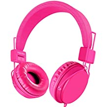 Einskey Kids Headphones, Wired On-Ear Headsets for Children with Microphone, Comfortable Lightweight & Foldable Design for Boys and Girls (Pink)