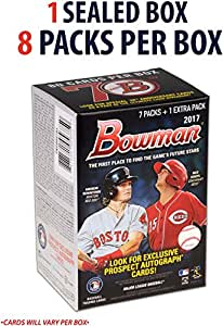 2017 Bowman Baseball Factory Sealed 8 Pack Box - Fanatics Authentic Certified - Baseball Wax Packs