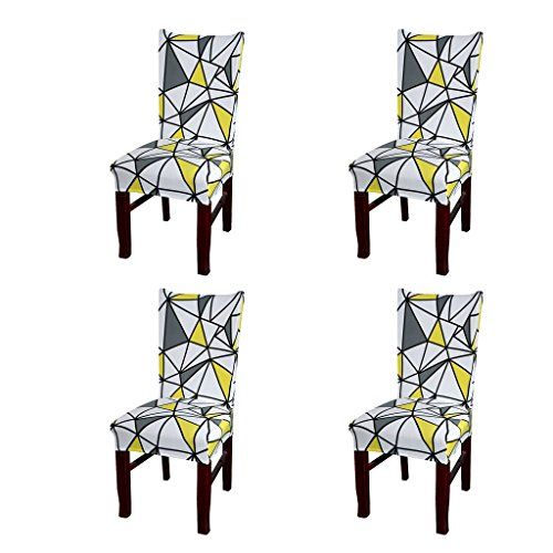 SoulFeel Set of 4 x Stretchable Dining Chair Covers, Spandex Chair Seat Protector Slipcovers for Holiday Banquet, Home Party, Hotel, Wedding Ceremony (Geometric Design, Yellow) from SoulFeel