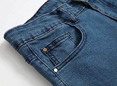 Elasticizzati Pantaloni Slim Media Skinny Casual Vintage Alla Moda Blu Da Dritti Jeans A Uomo Fit Vita 0r01Twzq