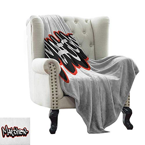 BelleAckerman Outdoor Blanket Matthew,Font Design Inspired by Hip-hop Culture and Street Art Name for Men, Vermilion Black and White Microfiber All Season Blanket for Bed or Couch 60