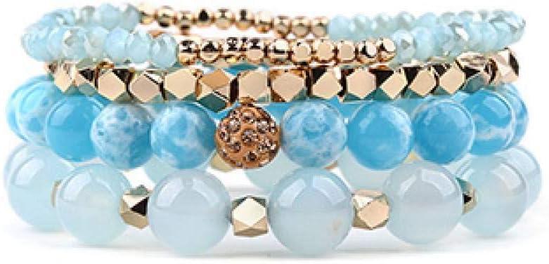 DMUEZW Multicapa Charm Pulseras de Piedra Natural para Mujer Cristal de ónix Dorado Howlite Turq.Pulsera de Cuarzo