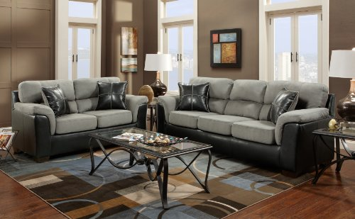 Roundhill Furniture Laredo 2 Toned Sofa And Loveseat Living Room Set Black Grey