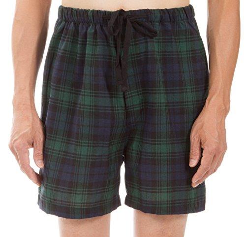 Leisureland Men's Plaid Pajama Boxers, PJ Shorts, PJ Lounge Shorts, Green Plaid (Flannel Boxer Short Pajamas)