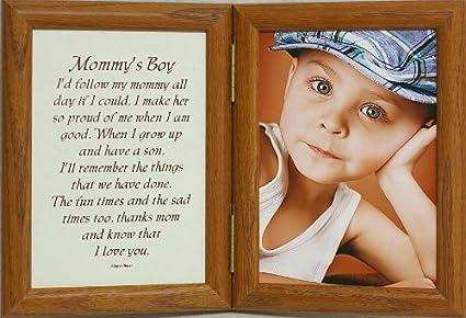 Amazon.com - 5x7 Hinged MOMMY\'S BOY Poem Oak Photo Frame ~ Mother\'s ...