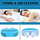 Anti Snoring Devices, Anti Snore Stopper Air Purifier Filter Snore Stopper Device Chin Strap Nose Vent Solution Filter Silicone Nose for Comfortable Sleep (Bule)