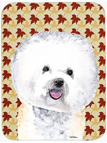 picture of Caroline's Treasures SC9201LCB Bichon Frise Fall Leaves Portrait Glass Cutting Board, Large, Multicolor