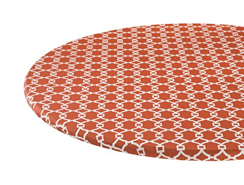 Lattice Vinyl Elasticized Table Cover by - Orange Flannel 42 Inch