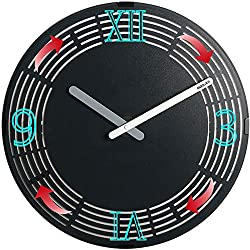 Wall Clock, Animated Zoetrope Analog Clock, Moving Roman and Arabic Numerals Clock, Non-Ticking Quartz Battery Operated, Decorative Clock for Living Room Bedroom Office (12-Roman& Arabic Numerals)