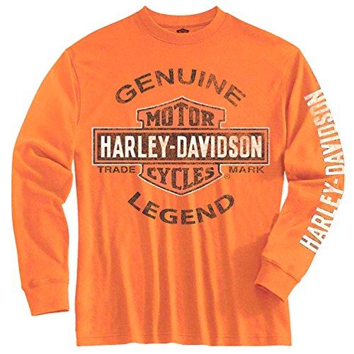 Shirt Genuine Boys (Harley-Davidson Big Boys' Tee, Long Sleeve Genuine Legend, Orange 1590507 (S))
