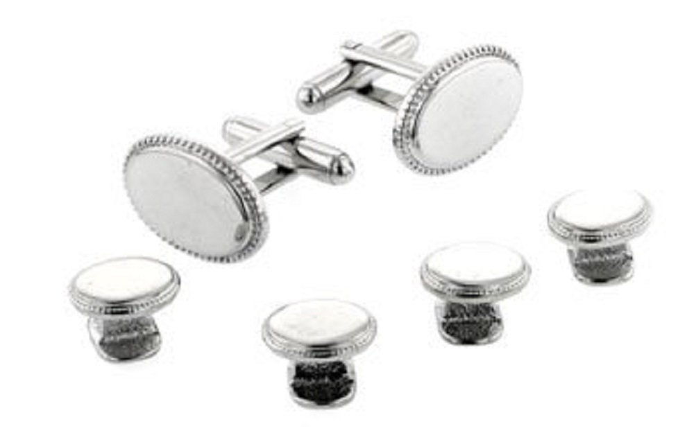 JJ Weston silver plated set of beaded edge cufflinks and shirt studs. Made in the U.S.A