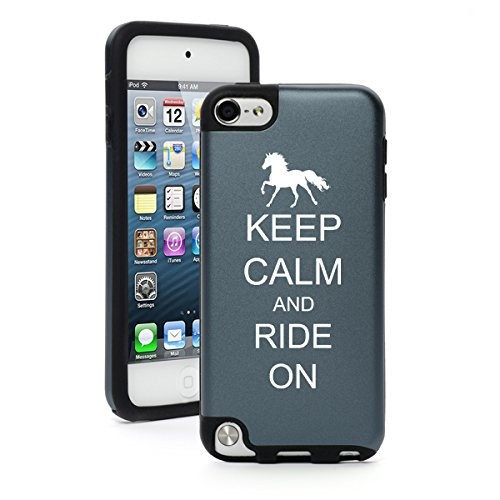 For Apple iPod Touch 5th / 6th Generation Aluminum & Silicone Hard Case Cover Keep Calm and Ride On Horse (Silver)