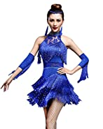 Z&X Women's Rhinestone Tassel Flapper Latin Rumba Dance Dress 4 Pieces Outfits