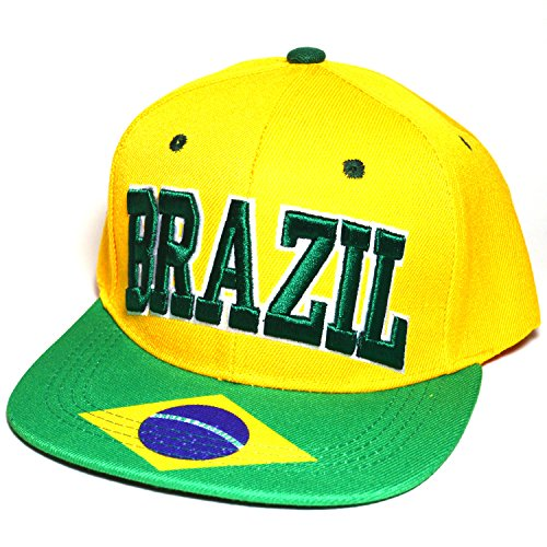 Country Flag National Embroidered Snapback Flat Bill Cap Baseball Hat AYO3024 (Brazil Flag Cap)