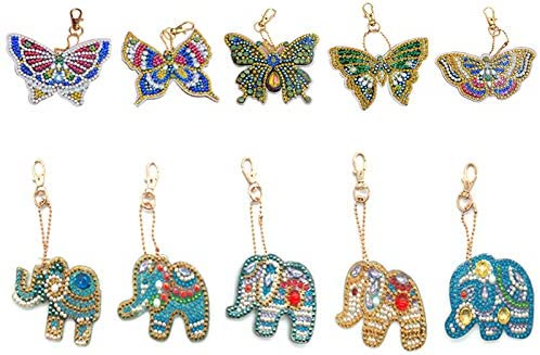 Businda 5D DIY Key Chains Diamond Painting Paint Guitar Kits Full Drill Special Shape Diamond Painting Pendant for Art Craft Key Ring Phone Charm Bag Decor 5 Pack