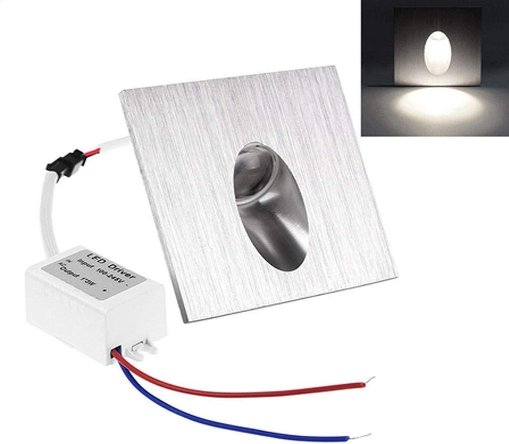 OLEEP LED Applique Encastr/é Lumi/ère descalier /Éclairage de marche blanc froid 4 PCS 1W carr/é 230V 8x8cm